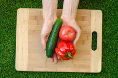 Vegetarians and cooking on the nature of the theme: human hand holding cucumber, tomato and red pepper on a cutting board and a ba Royalty Free Stock Images