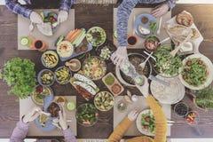 Vegetarians eating organic food Stock Photo