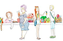 Vegetarians and fat woman shopping in supermarket watercolor painting. Customers in the queue line for cash in supermarket. Couple of Vegetarians is buying the royalty free illustration