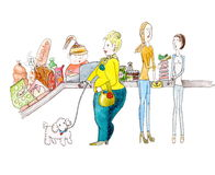 Vegetarians and fat woman shopping in supermarket watercolor painting Stock Photo