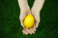 Vegetarians and fresh fruit and vegetables on the nature of the theme: human hand holding a lemon on a background of green grass t Stock Photography
