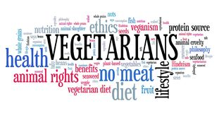 Vegetarians word cloud. Vegetarians - diet and ethics concept. Word cloud sign Stock Photo