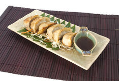 Vegetarier Gyoza mit japnese Soße Stockbild