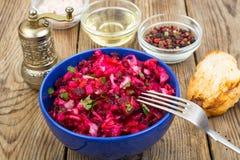 Vegetarisch menu Bietensalade van gekookte groenten royalty-vrije stock afbeelding