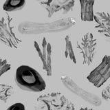 Vegetarisch naadloos patroon Herhaalbaar Patroon met Gezond Voedsel Hand getrokken waterverfgroenten Stock Fotografie