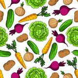 Vegetarisch naadloos patroon met verse groenten stock illustratie