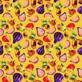 Vegetarisch patroon met vruchten en groenten royalty-vrije illustratie