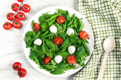 Vegetarisch voedsel en gezond levensstijlconcept - spring salade met kersentomaat, mozarellakaas en arugula op Stock Foto's