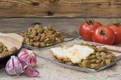 Vegetarisch voedsel, gekookte tuinboon Stock Foto's