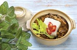 Vegetarisch voedsel, Tofu gebakken die vermicelli met tofu, vele ki worden gevuld stock foto's
