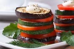 Vegetarisch voorgerecht van geroosterde groenten met saus royalty-vrije stock foto
