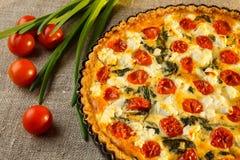 Vegetarische eigengemaakte pastei, Quiche met tomaten, spinazie en feta-kaas Stock Afbeeldingen