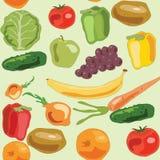 vegetarische Gemüsefruchtmustergrünmusterkartoffeltomatenbananenpfeffer-Apfelzwiebel Lizenzfreie Stockbilder