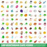 100 vegetarische geplaatste koffiepictogrammen, isometrische 3d stijl Stock Foto's