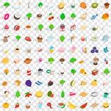 100 vegetarische geplaatste koffiepictogrammen, isometrische 3d stijl Royalty-vrije Stock Foto's