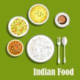 Vegetarische Indische kerrie, chutney en rijst Royalty-vrije Stock Foto