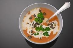 Vegetarische Kürbissuppe Stockfotos