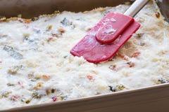 Vegetarische lasagna's om te doen gebakken Royalty-vrije Stock Afbeeldingen