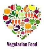 Vegetarische Lebensmittelherzform Stockbild