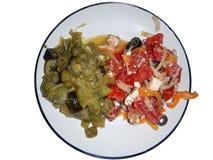 Vegetarische maaltijd op een plaat Stock Afbeeldingen