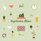 Vegetarische Menüikonen Lizenzfreie Stockfotografie