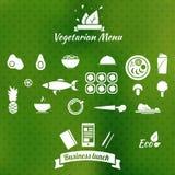 Vegetarische Menüikonen Stockfoto