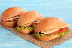 Vegetarische nuttige sandwiches op jute en blauwe houten achtergrond Stock Fotografie