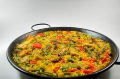 Vegetarische Paella - Spaanse rijst Stock Afbeelding