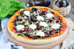 Vegetarische pizza met droge tomaten, spinazie, ui en kaas Selectieve nadruk Royalty-vrije Stock Afbeeldingen