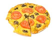 Vegetarische pizza met paddestoelen Stock Foto's