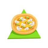 Vegetarische Pizza, Teil italienisches Schnellimbiss-Küche-Restaurant-der zum Mitnehmen Zustelldienst-Sammlung Illustrationen Stockbild