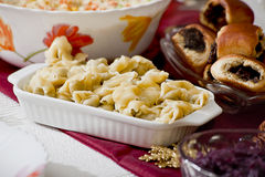 Vegetarische ravioli met paddestoelen Royalty-vrije Stock Foto's