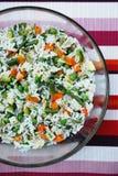 Vegetarische rijstsalade stock afbeelding
