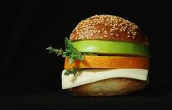 Vegetarische sandwich met sinaasappel Stock Foto's