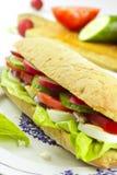 Vegetarische sandwich op plaat Stock Foto