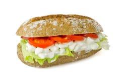 Vegetarische sandwich op witte achtergrond Royalty-vrije Stock Afbeelding