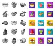 Vegetarische schotel mono, vlakke pictogrammen in vastgestelde inzameling voor ontwerp Groente en melk de voorraadweb van het voe stock illustratie