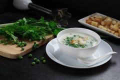Vegetarische soep met groene erwten, verse peterselie, dille Royalty-vrije Stock Fotografie