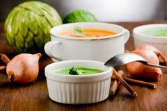 Vegetarische Suppen Stockfoto