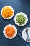 Vegetarische und gesunde Spaghettis Stockfotos