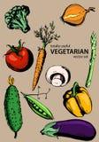 Vegetarische vectorreeks (groenten en paddestoelen) Stock Afbeelding