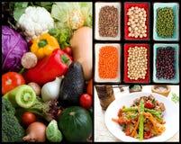Vegetarische voedsel & ingrediënten Royalty-vrije Stock Foto's