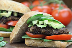 Vegetarischer Pilz-Burger Stockfoto