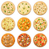 Vegetarischer Pizzasatz lokalisiert am Weiß Stockfoto