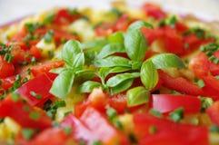 Vegetarisches Omelett im Detail stockfoto