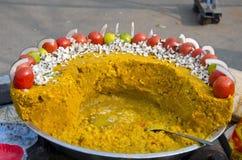 Vegetarisches Straßenlebensmittel in Indien stockbild