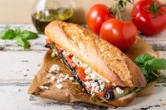 Vegetarisk bagettsmörgås Arkivfoto