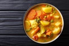 Vegetarisk curry från grönsaker med kokosnöten mjölkar närbild i a Arkivbilder