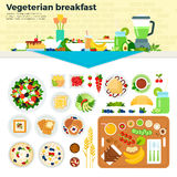 Vegetarisk frukost på tabellen Arkivbild