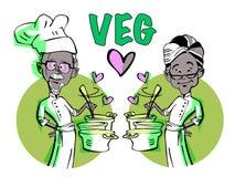 Vegetarisk hög parmatlagning stock illustrationer